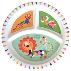 Lion & Friends Melamine Divided Plate