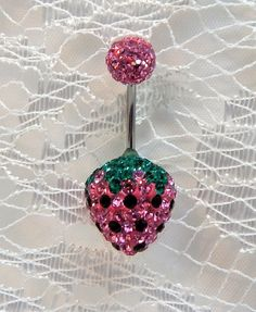 Belly ring with pink and green Swarovski crystal strawberry 16ga | Handmade jewelry, home decor and accessories by YOUnique DZigns