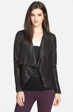 Main Image - Trouvé Drape Collar Leather Jacket