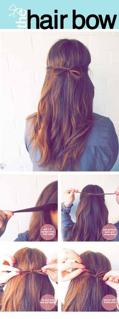 Quick and Easy Hairstyles for Straight Hair - The Tidy Hair Bow - Popular Haircuts and Simple Step By Step Tutorials and Ideas for Half Up, Short Bobs, Long Hair, Medium Lengths Hair, Braids, Pony Tails, Messy Buns, And Ideas For Tools Like Flat Irons and Bobby Pins. These Work For Blondes, Brunettes, Twists, and Beachy Waves - http://thegoddess.com/easy-hairstyles-straight-hair