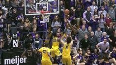 With the score tied and 1.7 seconds left on the clock, Nathan Taphorn throws the ball the length of the court to Dererk Pardon who hits the layup before the buzzer to give Northwestern an incredible 67-65 win over Michigan.