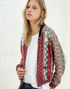 Print bomber jacket with pompoms - Jackets - Bershka Cyprus