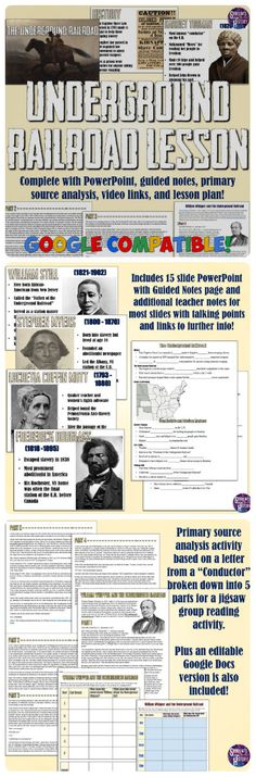 Awesome Underground Railroad lesson plan with PowerPoint, videos, primary source, jigsaw reading worksheet, and more!!