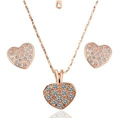 Women's 18K Gold Plated Jewelry Sets Ring Size 8 Earrings Necklace Crystal Elements Crystal
