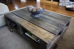 Dark stain pallet coffee table. May try this one instead.