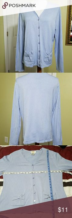Talbots baby blue button up cardigan Talbots baby blue button up cardigan.  In good condition.  Length is about 24 inches.  Bust is about 40 inches.  Materials shown in pictures. Talbots Sweaters Cardigans