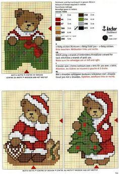Cute bears Christmas x stitch Cross Stitch Christmas Ornaments, Xmas Cross Stitch, Cross Stitch Cards, Christmas Embroidery, Cross Stitch Kits, Counted Cross Stitch Patterns, Cross Stitch Designs, Cross Stitching, Cross Stitch Embroidery