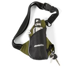 "* Keep yourself and the planet in shape with this earth-friendly walking enthusiast kit<br />* Includes stainless steel water bottle (decoration not available on bottle)<br />* Design allows it to be worn across body or around waist (strap length: 39"")<br />* Zippered interior compartment for storage<br />* Earphone outlet for MP3 player<br />* Features reflective piping and webbing for safety<br />* This product is made from 70% recycled PET fabric<br />* Includes educational product…"