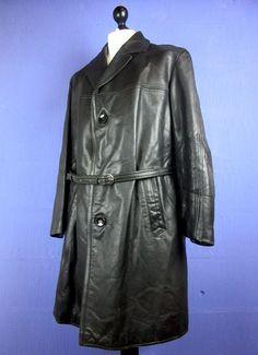 Vintage Black Real Leather Trench Mac Coat OverCoat XXLarge cj49