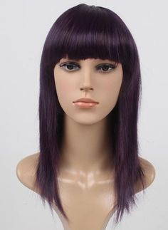 DELUXE Purple Funky Layered Shag with Blunt Fringe Costume Wig - Allaura Brand. This is an amazing very high quality wig, it looks and feels spectacular!  This high quality Purple Layered Shag with blunt fringe is the perfect wig for rock chick, 80's, any funky costume.  It is made out of deluxe synthetic fibre and is a very high quality costume wig with adjustable size inner straps to fit the size of your head and good quality cap. www.thewigoutlet.com.au