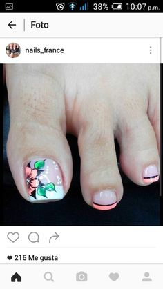 Uñas Gel Toe Nails, Toe Nail Art, Acrylic Nails, Pretty Toe Nails, Cute Toe Nails, French Pedicure, Pedicure Nail Art, Short Nail Designs, Toe Nail Designs