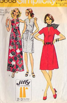 1970s Misses Jiffy Dress In 2 Lengths Maxi by MissBettysAttic, $7.00