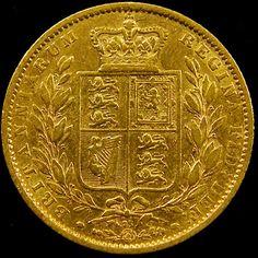 1864 SHIELD GOLD  VICTORIA SOVERIGN CO 605 gold coin uk, england gold coins,Guinea gold sovereign