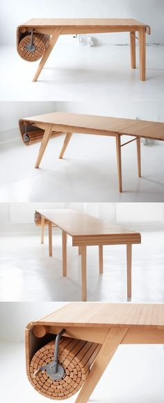 Now that's a cool table!! Roll out dining table! #diningtable #furniture #wooden