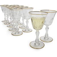 Vintage Saint Louis Gold-Rim White Wine Glasses, Set of 13