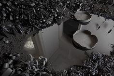Black Paper Flowers Creating a Landscape
