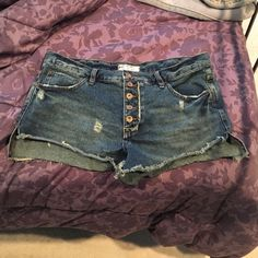 FP distressed high waisted denim shorts Free people size 29 high waisted denim shorts distressed style Free People Shorts Jean Shorts