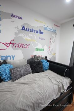 Cool painted map as a feature wall in a girl's bedroom - Summer Tour of Homes – Sawdust Girl style