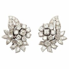 Cartier Diamond Floral Bouquet Earrings | From a unique collection of vintage more earrings at http://www.1stdibs.com/jewelry/earrings/more-earrings/ Curated by Clive Kandel