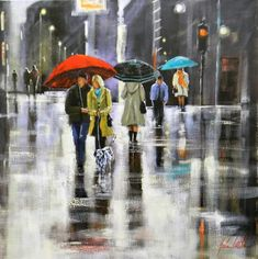 Rain and umbrellas in painting by Australian artist Helen Cottle