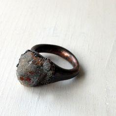 Chalcedony Copper Ring Gem Stone Chalcedony Druzy Blue Grey Gray Rust Artisan Crystal Under 75