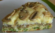 Eine herzhafte Torte mit Champignons, verschiedenen Käsesorten, Hackfleisch und grünen Bohnen. Ihr könnt je nach Geschmack verschiedene Zutaten verwenden.