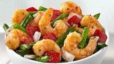 "Panda Express Five Flavor Shrimp - features large marinated shrimp, red bell peppers, onions, and green string beans wok-tossed in a ""Chinese-inspired umami sauce."" According to the chain, the Five Flavor Shrimp is so-named as it ""layers five distinct tastes – sweet, sour, bitter, salty and umami – to produce a burst of flavor in every bite."" The menu item is inspired by the Shanghainese dish gan shao shrimp (a sweet and sour shrimp dish)."