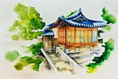 Watercolor on paper By.shinyo [수채화 일러스트] 한옥 The Korean style house _ 시뇨 shinyo : 네이버 블로그