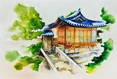Watercolor on paper By.shinyo  [수채화 일러스트] 한옥 The Korean style house _ 시뇨 shinyo : 네이버 블로그