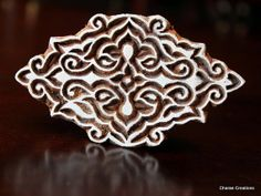 Hand Carved Indian Wood Stamp Block Baroque by charancreations, $18.50