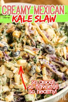 So good!! MEXICAN KALE SLAW (OR SALAD) RECIPE -resh, vibrant, and healthy, Creamy Mexican Kale Slaw is great as a side or piled high on your tacos. Best Salad Recipes, Potluck Recipes, Delicious Dinner Recipes, Side Dish Recipes, Mexican Food Recipes, Whole Food Recipes, Healthy Recipes, Ethnic Recipes, Side Dishes