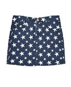 Dark Blue Body-con Denim Skirt with Star Print
