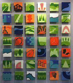 Postcards I - - Original Ceramic Tile Mural By Small Canvas Paintings, Mini Canvas Art, Mini Paintings, Tile Murals, Tile Art, Inspiration Artistique, Pin On, Idee Diy, Collaborative Art