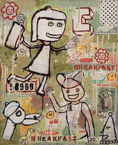 McDonald | Flea Free Breakfast | Mixed Media on Wood | 20x24.5