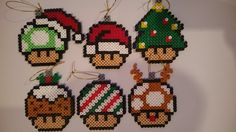 Mushroom Christmas ornaments perler beads by PixelGamerGirl Fuse Bead Patterns, Perler Patterns, Beading Patterns, Pixel Beads, Fuse Beads, Christmas Perler Beads, Christmas Ornaments, Perler Bead Mario, Beading For Kids