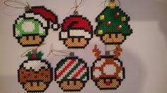 Mushroom Christmas ornaments perler beads by PixelGamerGirl