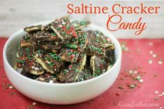 Saltine Cracker Candy (aka Chocolate Toffee Bark) uses saltinecrackers, chocolate & a few staple ingredients to make a delicious candythat's salty, sweet & crunchy!