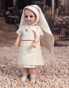 Bleuette Antique Doll in original Red Cross nurse's costume Unis France 71 149 301 1 1/4 Circa 1935