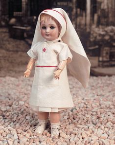 Bleuette Antique Doll in original Red Cross nurse's costume Unis France 71 149 301 1 1/4 Circa 1935