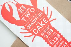 Oh So Beautiful Paper: Ben's Crawfish and Cake Birthday Party Invitations