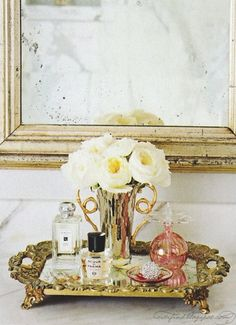 tray & distressed mirror