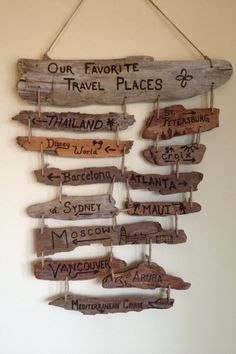 Custom Driftwood Collage - multiple driftwood signs strung together with custom…