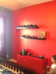 Monster truck room. Ikea lack shelves