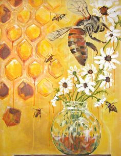 Honeybees Flower 5x7 Painting Fine Art Print  by forestandfin, $8.00