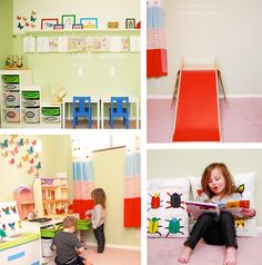 Changing a dark boring basement room into a fun and colorful play room. Lots of space for kids to play and learn. Art tables to create masterpieces on. Daycare Spaces, Kid Spaces, Montessori, Toddler Rooms, Toy Rooms, Kids Decor, Decor Ideas, Fun Ideas, Ideas Para