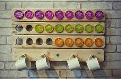 Reclaimed Wood Dolce Gusto Pod Holder / Rack | eBay Coffee Pod Storage, Coffee Pod Holder, Mug Holder, Coffee Pods, Wall Storage, Diy Storage, Dolce Gusto Pod Holder, Coffee Bar Home, Coffee Branding