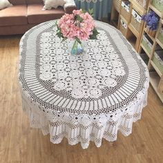Gorgeous crochet pattern tablecloth OVAL huge by LynnLakeWorkshop