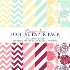 INSTANT DOWNLOAD, Chevron, Stripes, Flowers Digital Paper Set - Printable Paper - Card Making - Invitation Design - Digital Scrapbooking