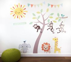 pastel jungle animal wall stickers by parkins interiors | notonthehighstreet.com