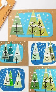 Tinker Christmas cards with fir trees – crafting kids – Christmas Crafts Christmas Cards To Make, Xmas Cards, Winter Christmas, Kids Christmas, Christmas Decorations, Christmas Trees, Christmas Christmas, Winter Art Projects, Winter Crafts For Kids